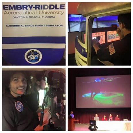 Yesterday was an amazing first full day at the PoSSUM Astronaut-Science program learning all kinds of interesting facts about Noctilucent clouds. I also had a go at the XCOR Lynx II PoSSUMcam flight simulator and loved it. In the evening we attended a lecture/panel event by our program director (Jason Reimuller), 2 NASA ISS/Shuttle mission Astronauts (Don Pettit and Nicole Stott), a neuroscientist (Jancy McPhee) and one of our awesome colleagues, commercial diver and artist Sarah Jane Pell about the intersection between Space and Art. Fascinating stuff. #EGYPTinSPACE #AstronautTraining